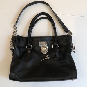 Michael Kors hamilton black leather satchel purse